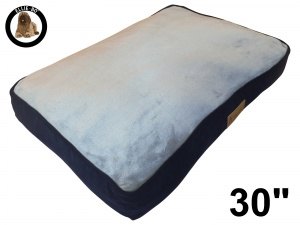 Ellie-Bo Medium Dog Bed with Blue Corduroy Sides and Grey Faux Fur Topping to fit 30 inch Dog Cage