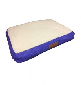 Ellie-Bo Large Blue Dog Bed with Faux Suede and Sheepskin Topping to fit 36 inch Dog Cage