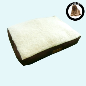 Ellie-Bo Jumbo 60 inch Brown Dog Bed with Faux Suede and Sheepskin Topping