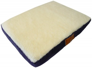 Ellie-Bo Small Blue Memory Foam Dog Bed with Faux Suede and Sheepskin Topping to fit 24 inch Dog Cage
