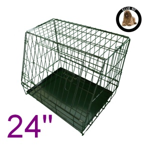 24 Inch Ellie-Bo Standard Slanted Small Dog Cage in Black