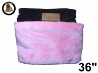 Ellie-Bo Large Replacement Dog Bed Cover with Brown Corduroy Sides and Pink Faux Fur Topping