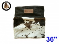 Ellie-Bo Large Replacement Dog Bed Cover with Brown Cowhide Design