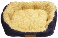 Ellie-Bo 23 Inch Blue Rectangular Dog Bed with Faux Suede Sides and Ultrasoft Lining