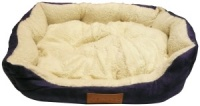 Ellie-Bo 23 Inch Blue Rectangular Dog Bed with Faux Suede Sides and Fleece Lining