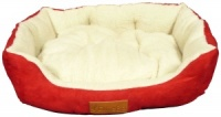 Ellie-Bo 23 Inch Red Rectangular Dog Bed with Faux Suede Sides and Fleece Lining