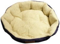 Ellie-Bo 24 Inch Diameter Round Blue Dog Bed with Faux Suede Sides and Fleece Lining