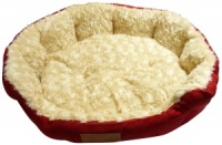 Ellie-Bo 24 Inch Diameter Round Red Dog Bed with Faux Suede Sides and Ultrasoft Lining