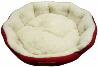 Ellie-Bo 24 Inch Diameter Round Red Dog Bed with Faux Suede Sides and Fleece Lining