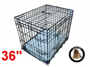 36 Inch Ellie-Bo Deluxe Large Dog Cage in Black