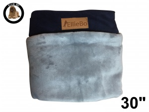 Ellie-Bo Medium Replacement Dog Bed Cover with Blue Corduroy Sides and Grey Faux Fur Topping