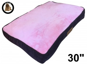 Ellie-Bo Medium Dog Bed with Brown Corduroy Sides and Pink Faux Fur Topping to fit 30 inch Dog Cage