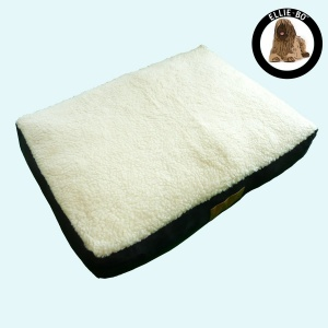 Ellie-Bo Extra Large Black Dog Bed with Faux Suede and Sheepskin Topping to fit 42 inch Dog Cage