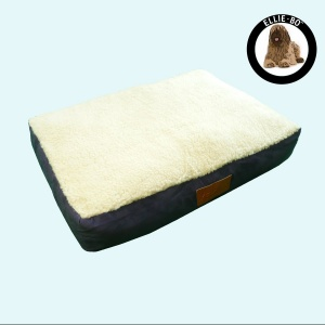 Ellie-Bo Extra Large Blue Dog Bed with Faux Suede and Sheepskin Topping to fit 42 inch Dog Cage