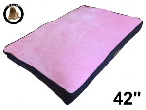 Ellie-Bo Extra Large Dog Bed with Brown Corduroy Sides and Pink Faux Fur Topping to fit 42 inch Dog Cage