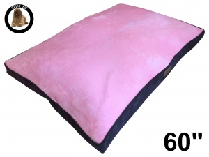 Ellie-Bo Jumbo 60 inch Dog Bed with Brown Corduroy Sides and Pink Faux Fur Topping