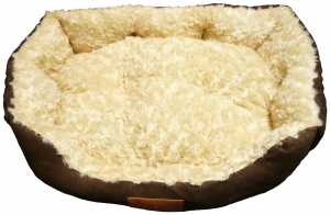 Ellie-Bo 23 Inch Brown Rectangular Dog Bed with Faux Suede Sides and Ultrasoft Lining