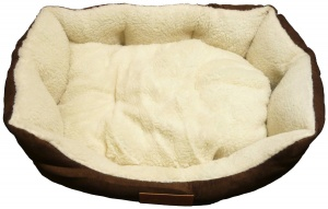 Ellie-Bo 23 Inch Brown Rectangular Dog Bed with Faux Suede Sides and Fleece Lining