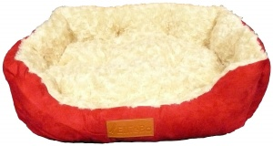 Ellie-Bo 23 Inch Red Rectangular Dog Bed with Faux Suede Sides and Ultrasoft Lining