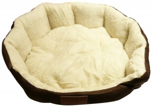 Ellie-Bo 24 Inch Diameter Round Brown Dog Bed with Faux Suede Sides and Fleece Lining