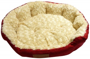 Ellie-Bo 30 Inch Diameter Round Red Dog Bed with Faux Suede Sides and Ultrasoft Lining