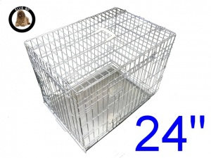 24 Inch Ellie-Bo Standard Small Dog Cage in Silver
