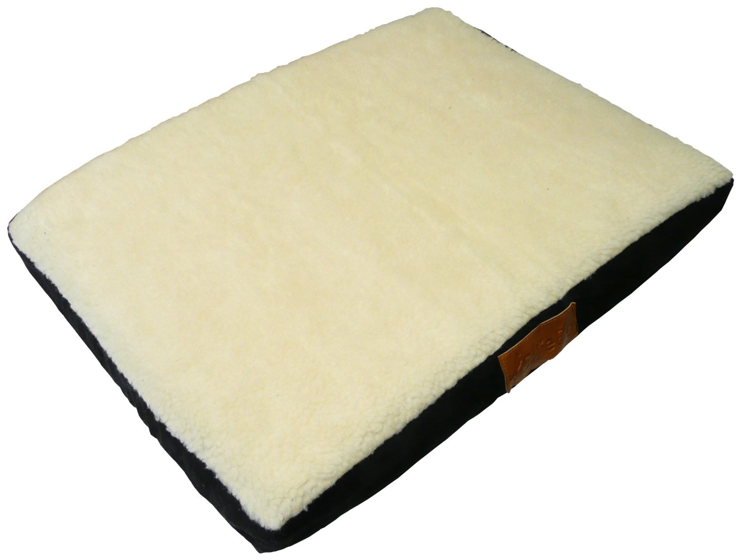 elliebo xxl black memory foam dog bed with faux suede and sheepskin topping to
