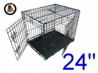 24 Inch Ellie-Bo Standard Small Dog Cage in Black