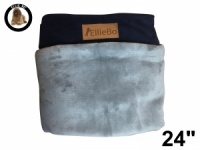 Ellie-Bo Small Replacement Dog Bed Cover with Blue Corduroy Sides and Grey Faux Fur Topping