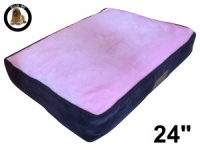 Ellie-Bo Small Dog Bed with Brown Corduroy Sides and Pink Faux Fur Topping to fit 24 inch Dog Cage
