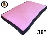 Ellie-Bo Large Dog Bed with Brown Corduroy Sides and Pink Faux Fur Topping to fit 36 inch Dog Cage