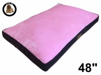 Ellie-Bo XXL Dog Bed with Brown Corduroy Sides and Pink Faux Fur Topping to fit 48 inch Dog Cage