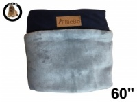 Ellie-Bo Jumbo 60 inch Replacement Dog Bed Cover with Blue Corduroy Sides and Grey Faux Fur Topping