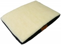 Ellie-Bo Small Black Memory Foam Dog Bed with Faux Suede and Sheepskin Topping to fit 24 inch Dog Cage