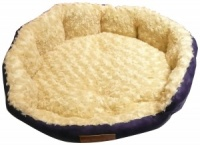 Ellie-Bo 24 Inch Diameter Round Blue Dog Bed with Faux Suede Sides and Ultrasoft Lining