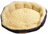 Ellie-Bo 30 Inch Diameter Round Blue Dog Bed with Faux Suede Sides and Ultrasoft Lining