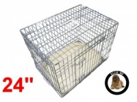 24 Inch Ellie-Bo Deluxe Small Dog Cage in Silver