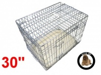 30 Inch Ellie-Bo Deluxe Medium Dog Cage in Silver