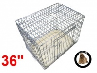 36 Inch Ellie-Bo Deluxe Large Dog Cage in Silver
